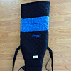 Custom double outrigger canoe paddle bag, blue blocks, with embroidery
