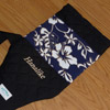 Custom outrigger canoe keiki paddle bag, blue hibiscus, with embroidery