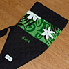 Custom outrigger canoe paddle bag, green tiare swirls, with embroidery