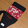 Custom outrigger canoe keiki paddle bag, red hibiscus, with embroidery